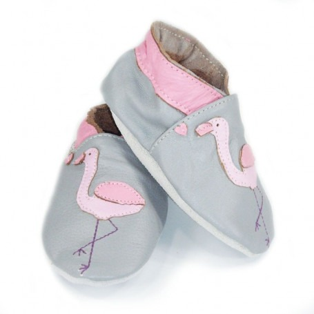 Chausson cuir souple Flamand Rose