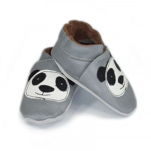 Chausson cuir souple Tete de Panda