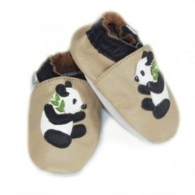 Chaussons cuir souple Panda beige
