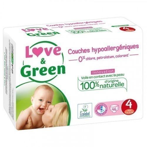 Love & Green 46 couches hypoallergéniques T4 Jumbo Pack 7-14kg