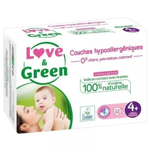 Love & green - 42 Couches hypoallergéniques Jumbo - T4+ - 9-20Kg