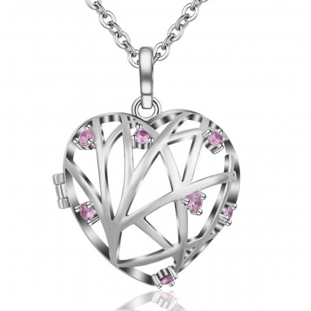 Bola Cage Coeur Strass rose