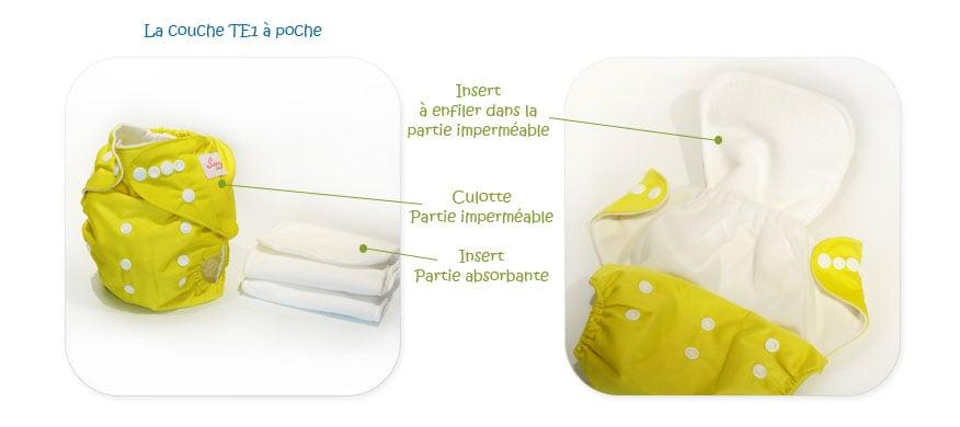 Couche lavable TE1 à poche